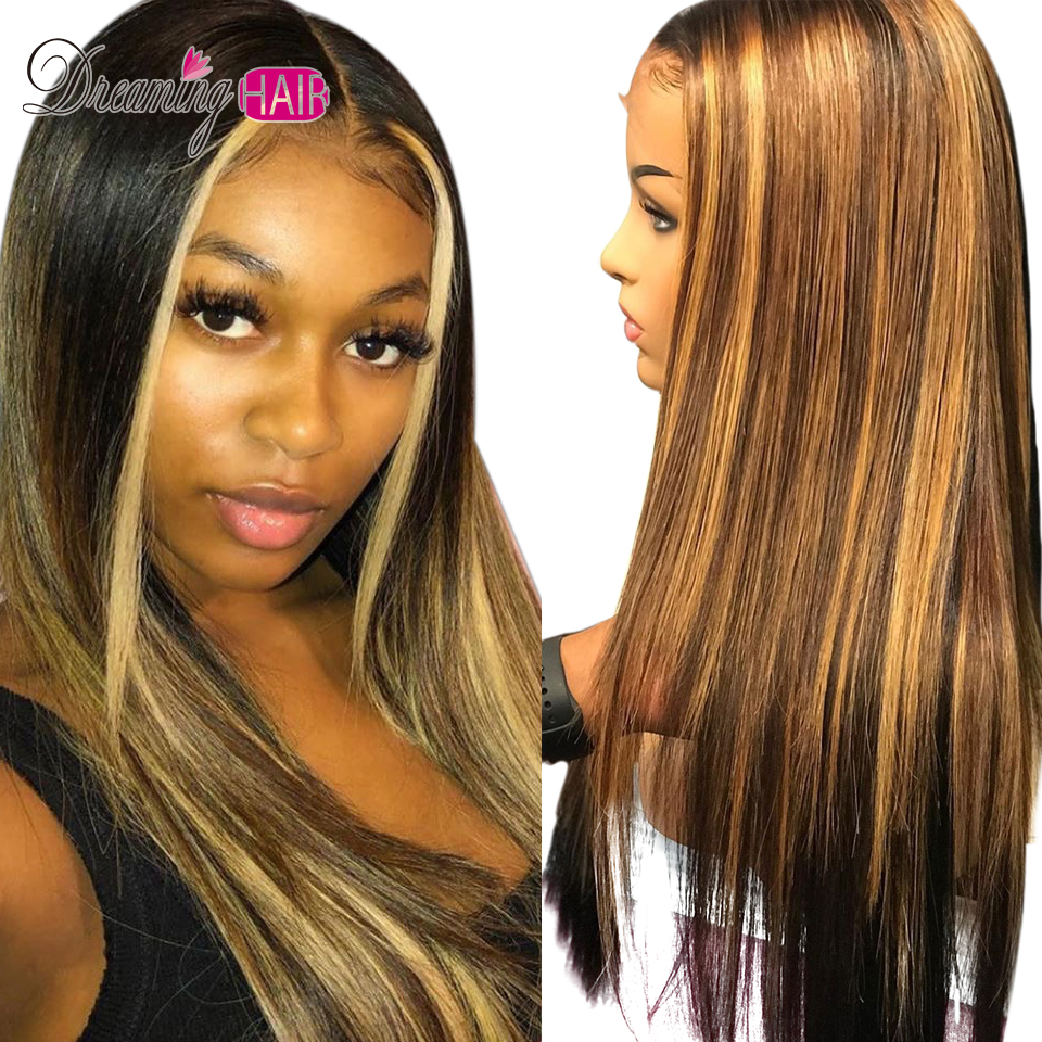 Hd3947f4787b54398814dc2310ba50b95H Highlight 13x6 Deep Part 1B 27 Ombre Honey Blonde Brazilian Straight Hair Lace Front Human Hair Wigs Pre Plucked With Baby Hair