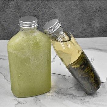 20pcs Transparent juice bottle liquor tea drinking bottles PET plastic 300ml cold drink packaging cup with aluminum foil lid