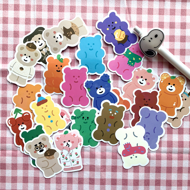 27pcs/bag Color Bear Waterproof Sticker DIY Scrapbooking Journal Album Mobile Phone Diary Computer Wall Decoration Sticker