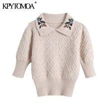 KPYTOMOA donna 2020 moda ricamo floreale maglione lavorato a maglia Vintage Peter Pan colletto manica corta pullover femminile top Chic