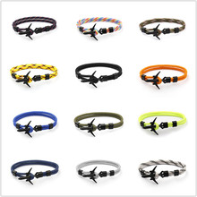 New Arrival Fashion Plane Anchor Bracelets Men Charm Chain 550 Paracord Bracelet Jewelry Male Wrap Metal Sport Anchor Hooks cuteeco anchor bracelets charm chain rope metal bracelet anchor male gift hooks jewelry fashion golden bracelet men shark