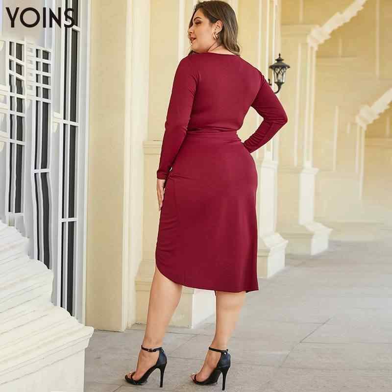YOINS Elegante Più Il Formato Contorto Girocollo Maniche Lunghe Fessura Orlo Vestito Aderente 2020 Donne Glamour Vestiti Da Partito Midi Vestidos
