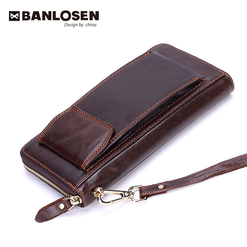 2020 Fashion Men Wallets With Coin Purse Long Male Money Purses Dollar Mens Money Phone Bag Genuine Leather Thin Clutch Wallet