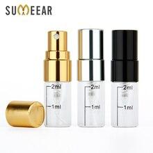 50 adet/grup 2ml boş parfüm şişesi alüminyum sprey Atomizer taşınabilir seyahat kozmetik konteyner ölçekli şişeleri
