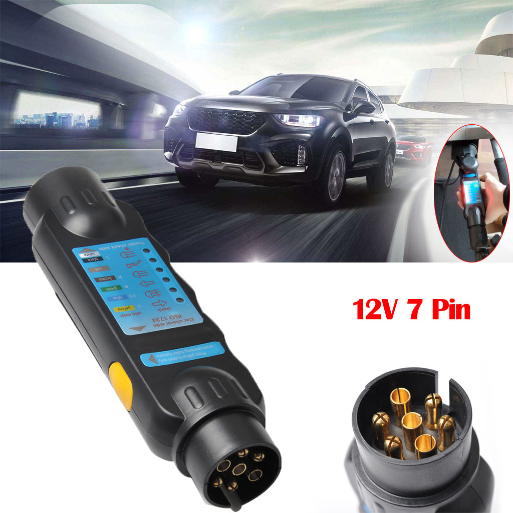 Hot Multifuction 12V 7 Pin Car & Trailer Towing Lights Plug&Socket Cable Wiring Circuit Tester Car Moto Devices