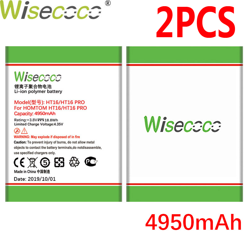 WISECOCO 2PCS 4950mAh Battery For <font><b>Homtom</b></font> HT16 HT <font><b>16</b></font> <font><b>Pro</b></font> Phone In Stock Latest Production High Quality Battery+Tracking Number image
