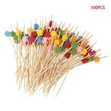 100pcs Plum Blossom Bamboo Cocktail Picks Food Sticks Disposable Toothpicks