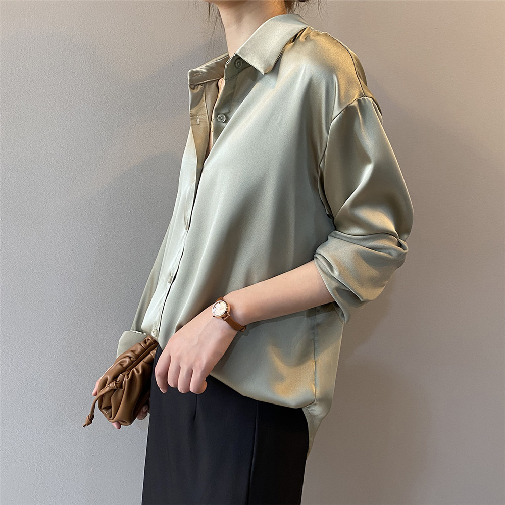 High quality Women Silk Satin Blouse 2020 Summer Women Satin Blouses Shirt Office Long Sleeves Femme V Neck Loose Street Shirts (7)