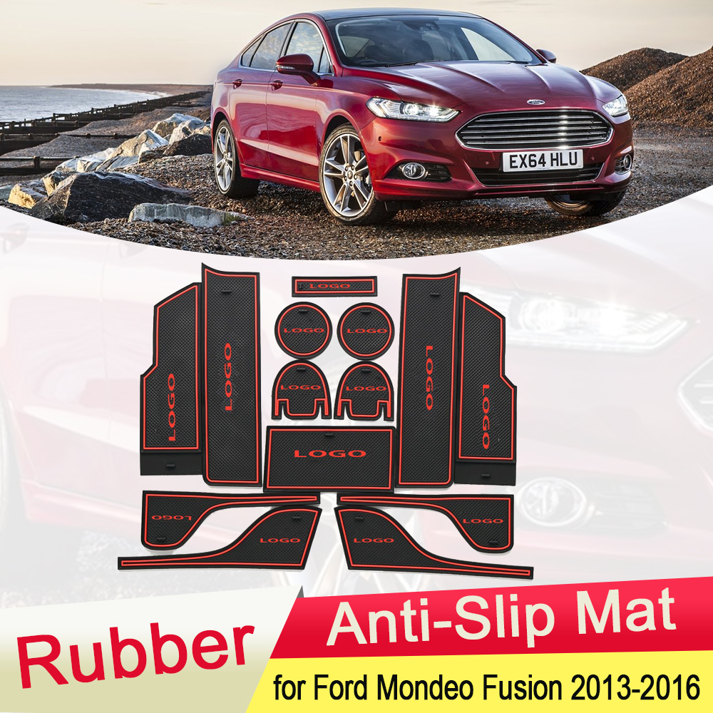 For Ford Mondeo Fusion MK5 2013 2014 2015 2016 Rubber Anti-slip Mat Door Groove Cup Phone Pad Gate Cushion Coaster Accessories