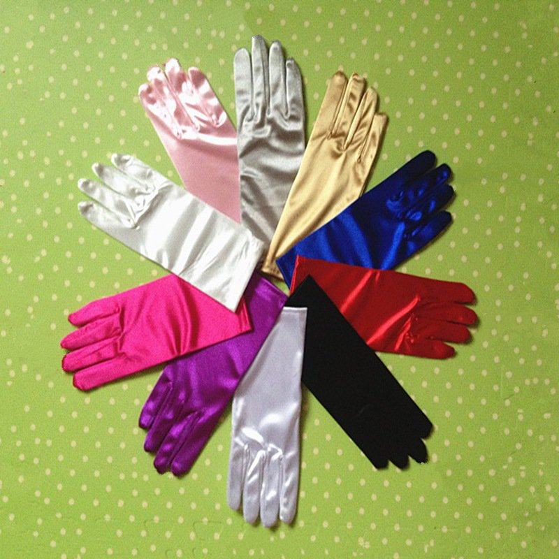 Short Pink Satin Finger Short Blue Wedding Gloves Purple Wedding Accessories Party Prom Cosplay Performance Casual Bride Gloves