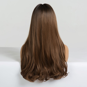 Image 3 - EASIHAIR pelucas onduladas de pelo largo para mujeres negras postizo de pelo largo marrón con flequillo sintético sin pegamento, Peluca de pelo Natural de alta temperatura para Cosplay