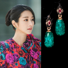 2020 Korean TV Star Retro Green Water Drops Earrings For Women Girls New Fashion Earrings Elegant Oorbellen Party Jewelry Gifts