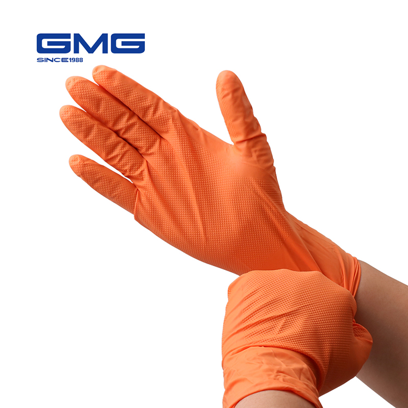 Nitrile Gloves GMG Orange Black Yellow Green Durable Nitrile Kitchen Gloves With Diamond Pattern Work Safety Gloves Waterproof