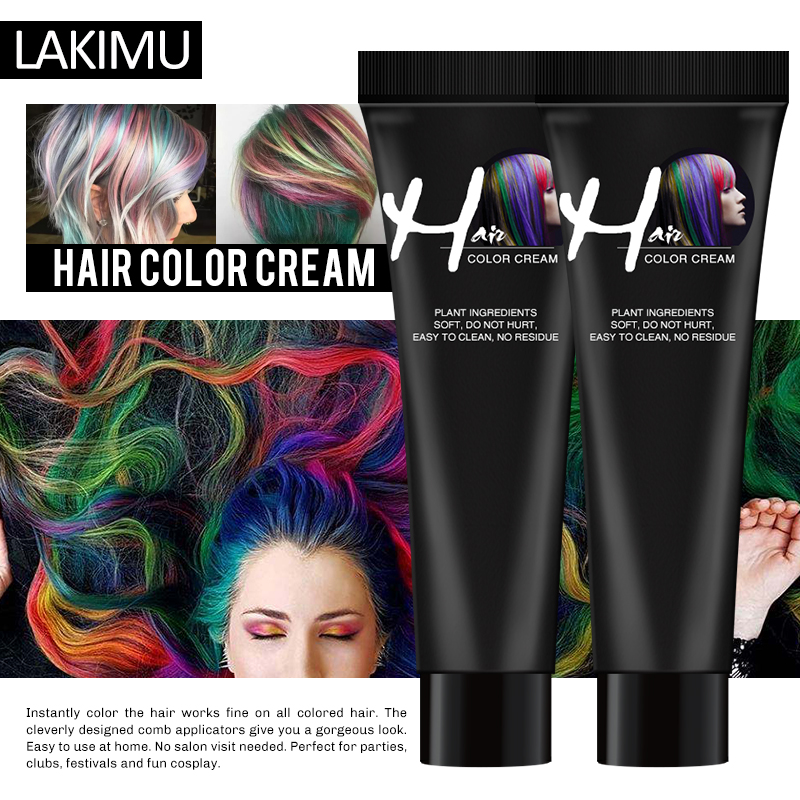 LAKIMU Punk Style 9 Colors Colorant Semi Permanent Salon Hair Silver Grey Color Wax Dye Hair Coloring Styling Unisex Hair Dye image