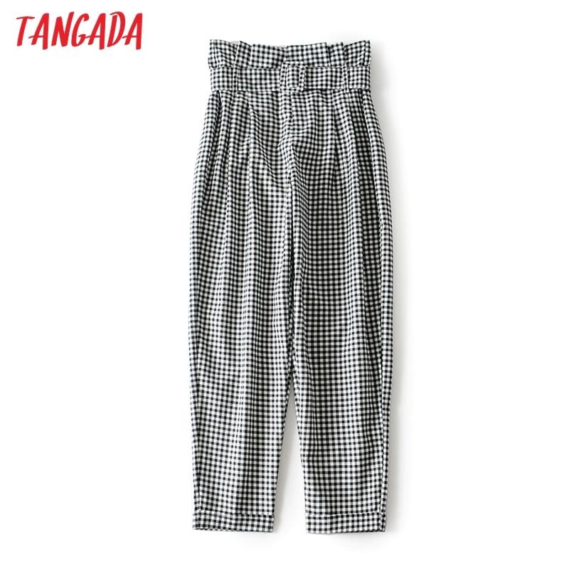 Tangada women high waist plaid pants belt zipper pockets female office wear casual chic trousers long pantalones 2M66