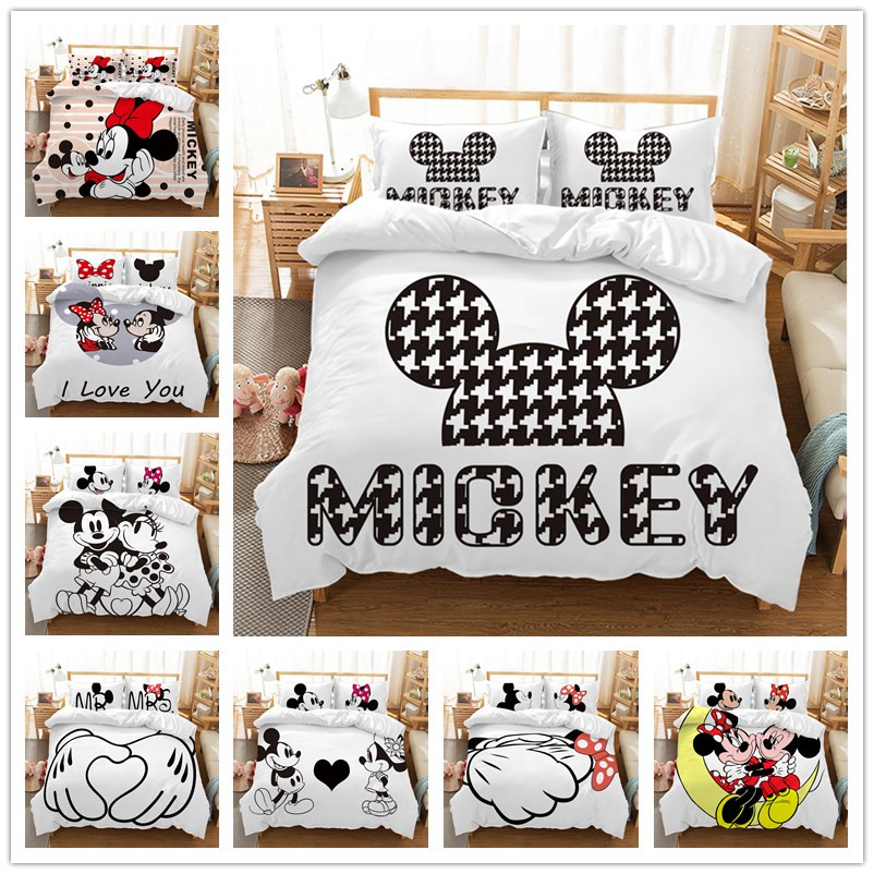 Disney Mickey Minnie Bedding Set Adult Children Christmas Home Textile Single Twin Queen King Size  Pillow Case Duvet Cover Gift