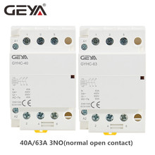 цена на GEYA GYHC 3 Phase AC Contactor 220V 3P 40A 63A 3NO Din Rail Household AC Contactor Modular Switch