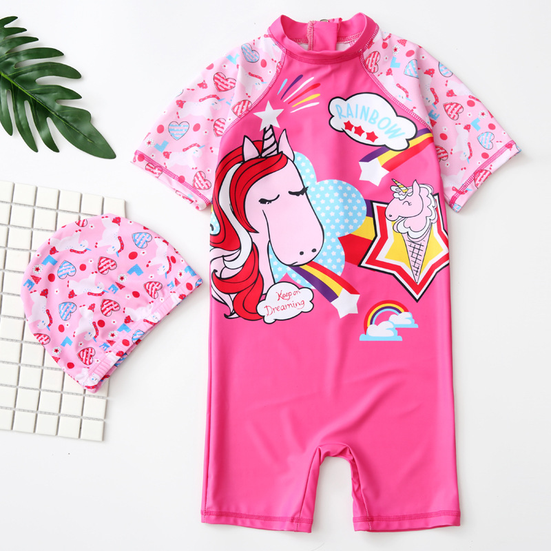 KID'S Swimwear Girls Children Princess Siamese Swimsuit GIRL'S Baby Infants Sun-resistant Temperature Quan Yong Set