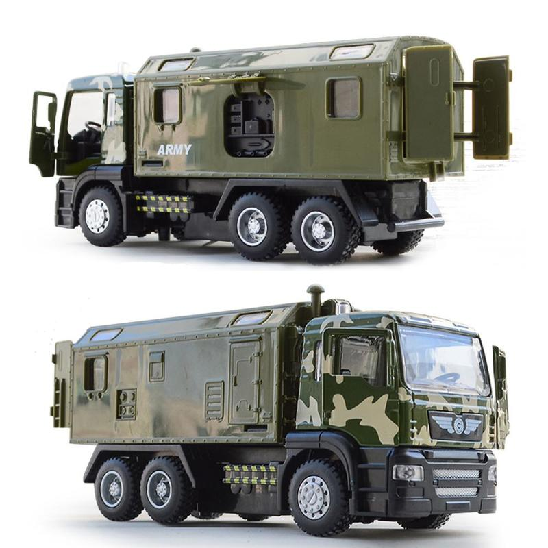 1:50 Scale Military Police Transport Alloy Car Model With Pull Back Sound And Light Diecast Vehicle Truck Army Toys For Children