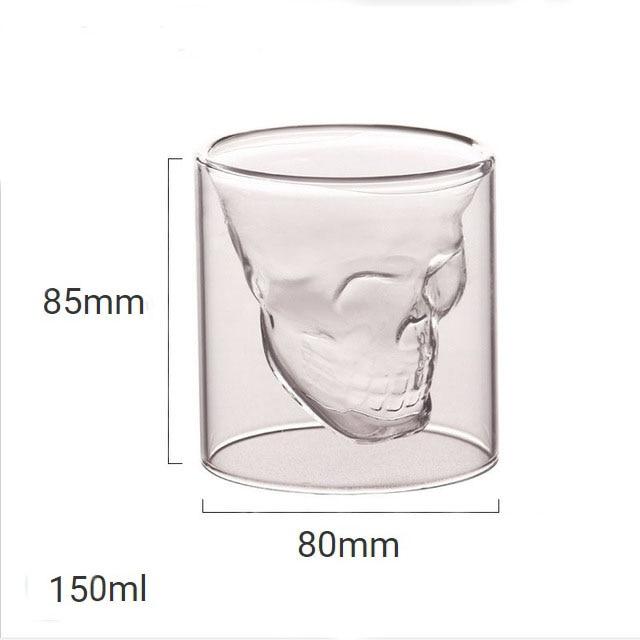4 размера бренди двухслойный бокал для вина чашка пиратский череп голова прозрачная Хрустальная пивная кружка стопки для водки кофе Winebowl бар - Цвет: 150ml