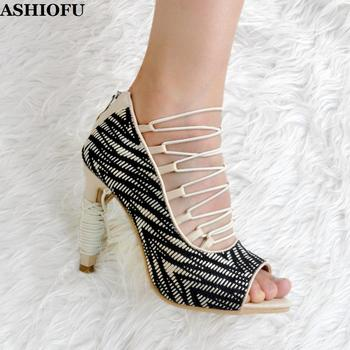 ASHIOFU Handcrafted Women High Heel Pumps Peep-toe Shoelace Party Prom Dress Shoes Sexy Evening Club Fashion Court Shoes XD035