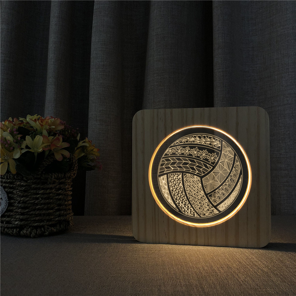 Volleyball Shape Sports 3D LED Arylic Wooden Night Lamp Table Light Switch Control Carving Lamp For Children's Room Decorate
