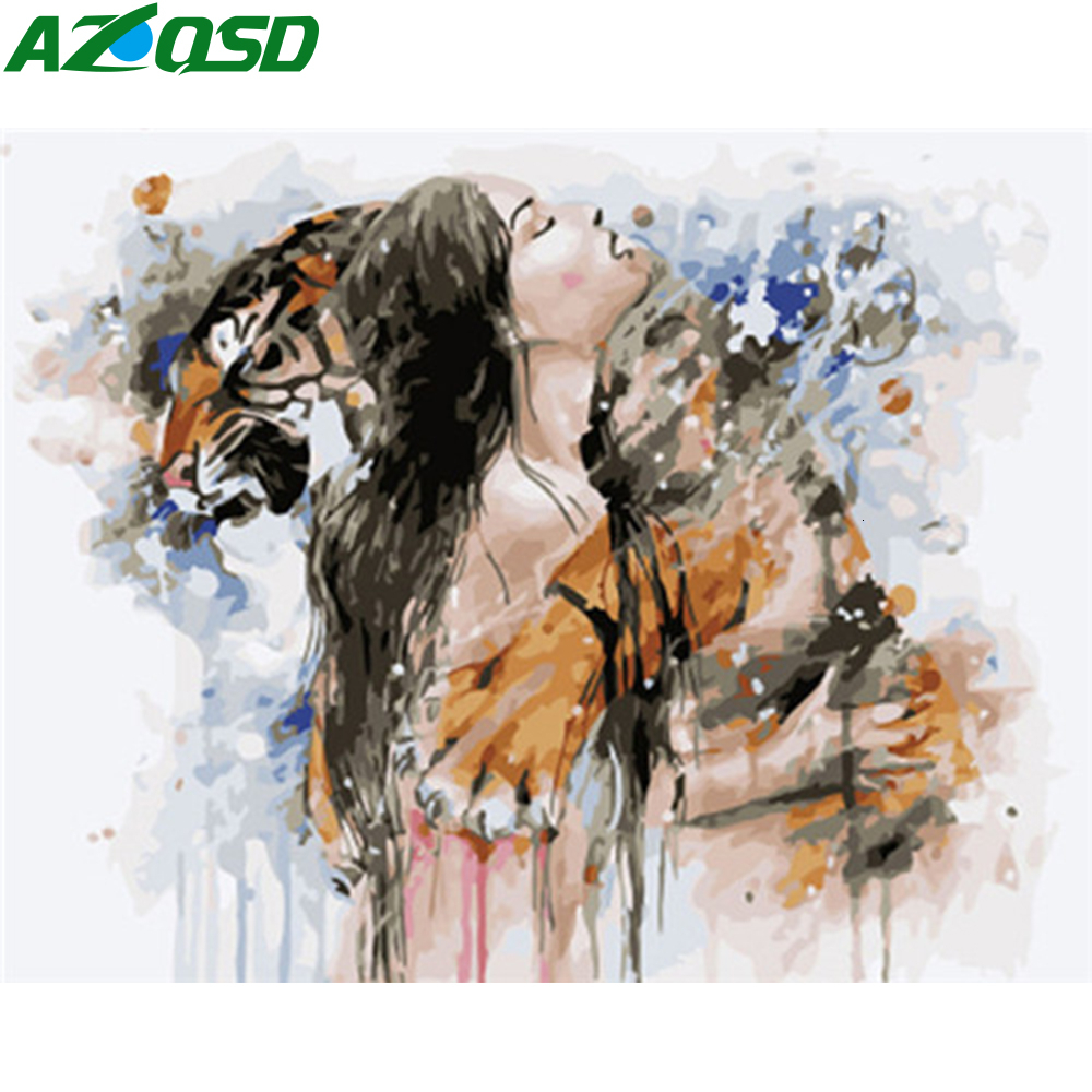 AZQSD Paint By Number On Canvas Kits Girl Tiger Unique Gift DIY Unframe Acrylic Paint Oil Painting By Numbers Home Decoration