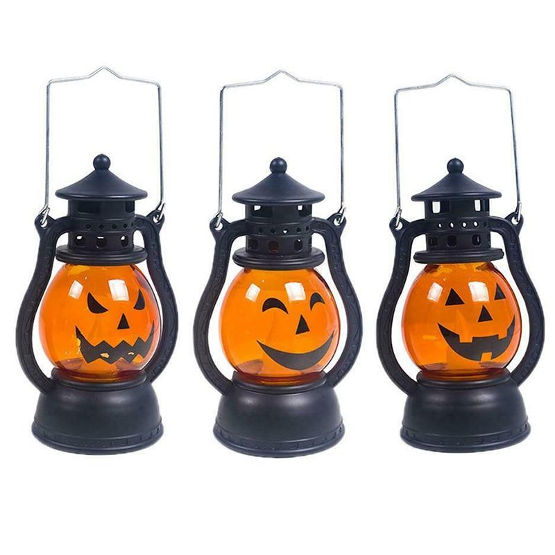 Halloween Decoration Paper LED Lantern Hanging Pumpkin Lamp Party Home Props JA55