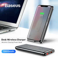 Baseus 10000mAh QI cargador inalámbrico banco de energía para iPhone Samsung PD + QC3.0 carga rápida USB batería externa paquete