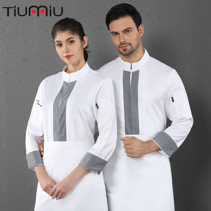 Long Sleeve Chef Uniform Unisex Cooking Jacket Hotel Catering Service Cafe Bakery Hair Salon Waiter Work Shirt Free Scarf Gift