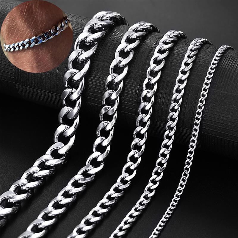 Men's Chain Bracelet Stainless Stel Curb Cuban Link Chain Bracelets for Women Unisex Wrist Jewelry Fashion Punk Male Bangle Gift