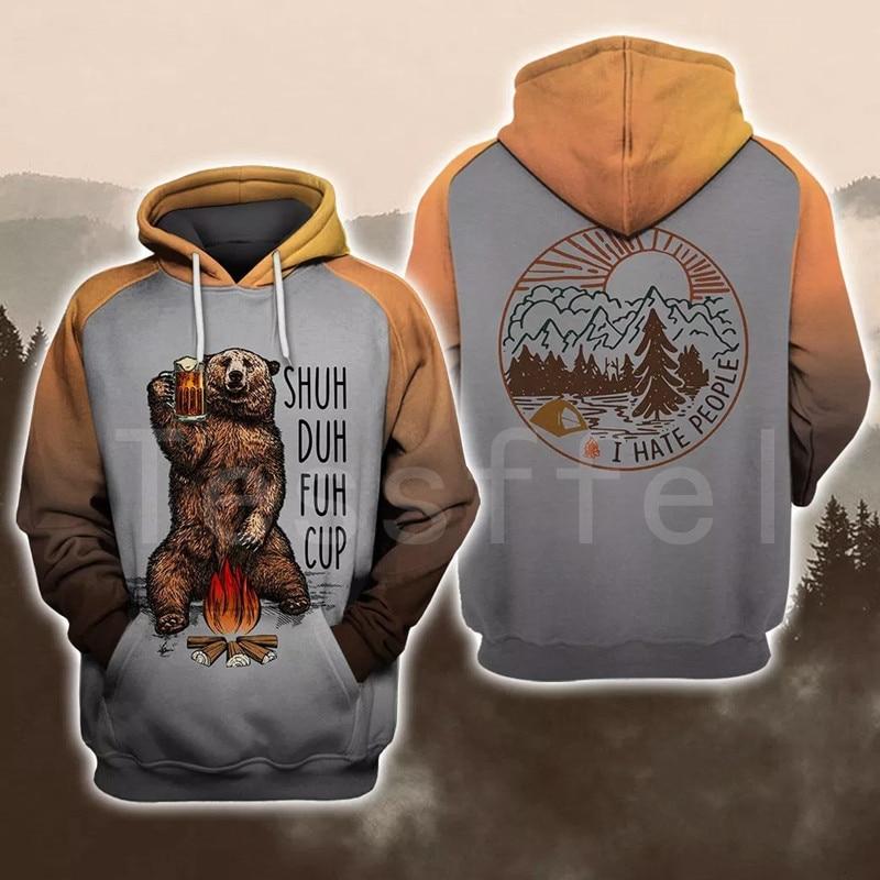 Tessffel Animal Bear Hunting I Hate People Love Camping Funny NewFashion 3DPrint Zipper/Hoodies/Sweatshirts/Jacket/Men/Women S22
