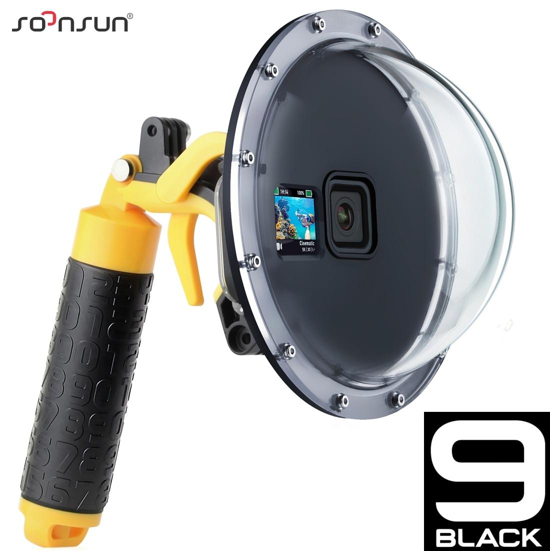 SOONSUN 45 м водонепроницаемый чехол для объектива с купольным портом для дайвинга чехол с зажимом для GoPro Hero 9 Black Go Pro 9 аксессуар