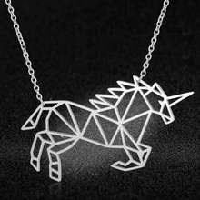 100% Real Stainless Steel 40cm Unicorn Necklace Italy Design Super Quality Fashion Animal Pendant Necklaces Amazing Design(China)