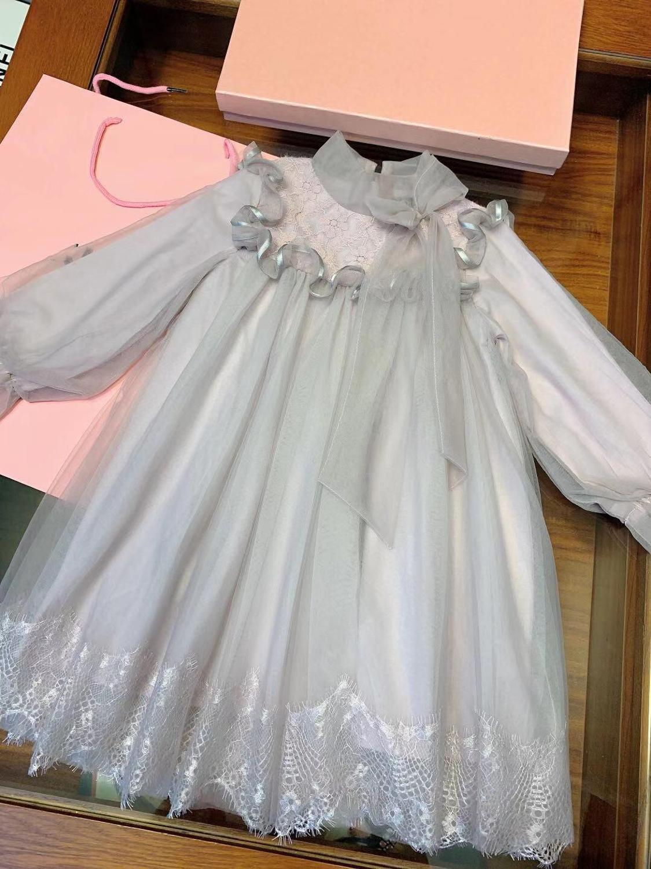 Conception de marque de luxe filles robe enfants dentelle gaze arc robe de princesse nouveau Style d'hiver 3-7Y