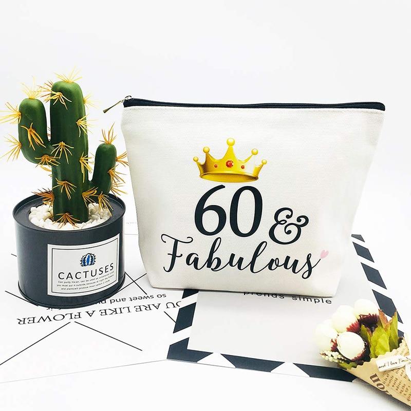 60 и потрясающая холщовая косметичка для макияжа, мать бабушка 60 лет, 60 лет, подарок на день рождения, декоративные принадлежности