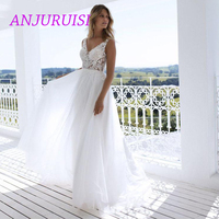 Boho Wedding Dress 2019 Appliqued Floor Length Elegant Tulle A line Sexy Backless Beach Bride Dress Sexy Wedding Gown Casamento