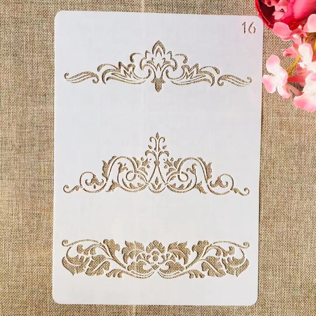 1Pcs A4 29cm Flower Border Edge Line DIY Layering Stencils Painting Scrapbook Coloring Embossing Album Decorative Template