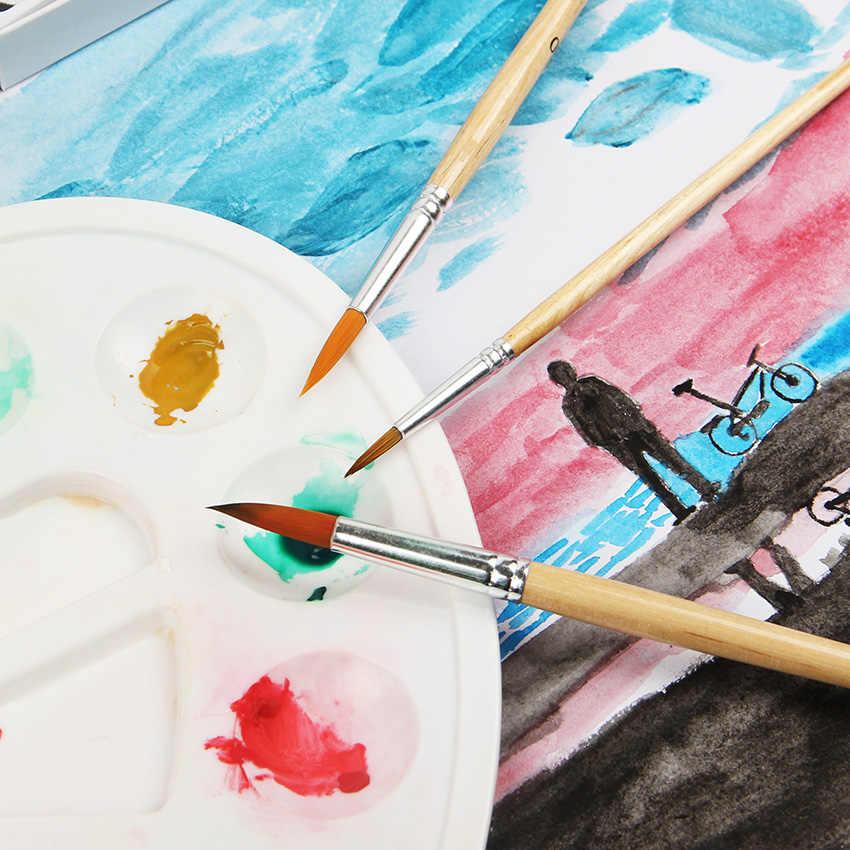 12 шт./компл. нейлоновая ручка для волос с деревянной ручкой Акварельная кисть для рисования, ручка Diy масляная Акриловая картина художественные краски кисти художественные краски инструменты для рисования