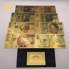 Juego de billetes de papel de aluminio de color dorado, 8 diseños, 50, 100, 200, 500 PLN, para colección de artesanías de partriotismo