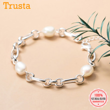Trustdavis Luxury 925 Sterling Silver Sweet 8mm Baroque Pearl Chain Bracelet For Women Wedding Birthday Fine S925 Jewelry DA1653