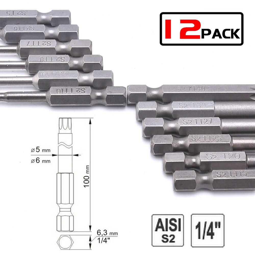 12Pcs Precision  Professional Torx Screwdriver Bits Set Hex Magnetic Head Length 50mm(2