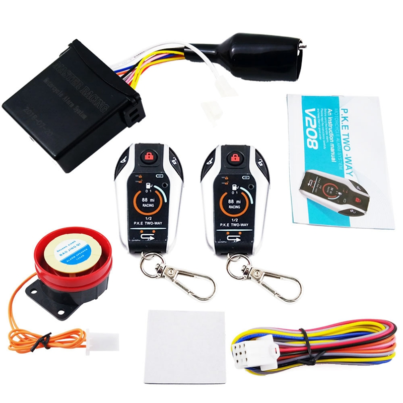 12V Motorcycle Anti-Theft Two-Way Alarm With Automatic Locking To Unlock A Key To Start The Flameout Function To Protect The Eng