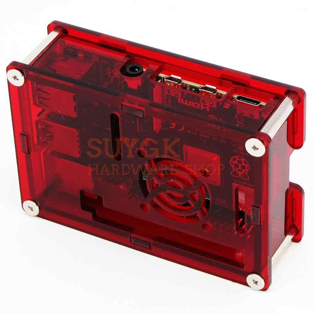 ברור אדום פטל PI 4 מקרה תיבת PMMA אקריליק מארז של PI4 דגם B 1 GB/2 GB/ 4GB פלסטיק שיכון מעטפת כיסוי