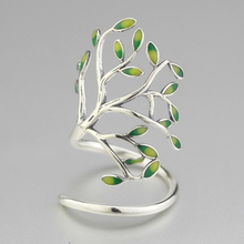 цена на 925 Sterling Silver Handcrafted Green Leaves Pure Silver Opening Ring Simple Fashion Opening Life Tree Lady's Accessories
