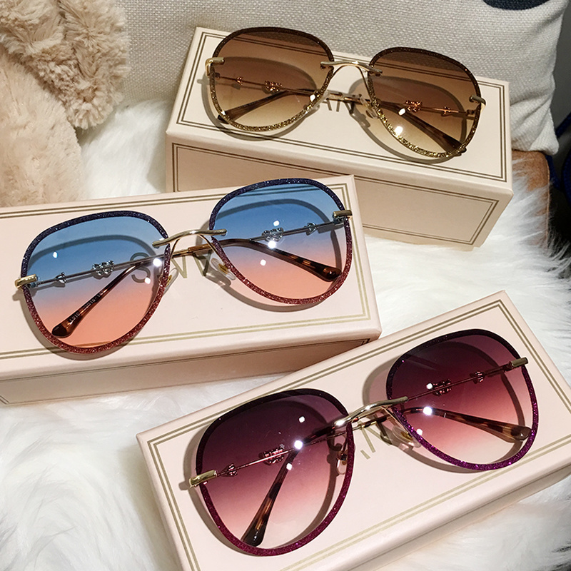 MS 2019 New Diamond Sunglasses Female Imitation Rhinestones Gradient Color UV400 Women Sunglasses