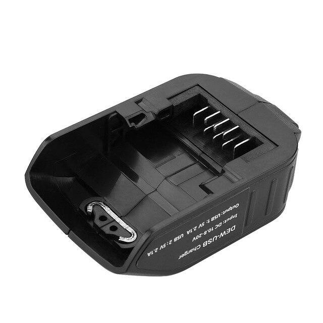 Podwójny Port USB DC 12V z wyświetlaczem LED przetwornica do baterii Adapter do akumulatora litowo-jonowego DEWALT 10.8-20V