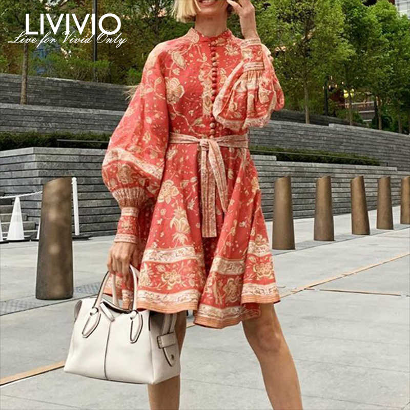 [LIVIVIO] Vintage Bloemenprint Lantaarn Lange Mouwen Sash Lace Up Waisted Button Down Rode Mini Jurken 2019 herfst Mode