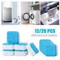 12/20Pcs เครื่องซักผ้าทำความสะอาดถังเม็ดเครื่องซักผ้า Decontamination ทำความสะอาดผงซักฟอกฟู่