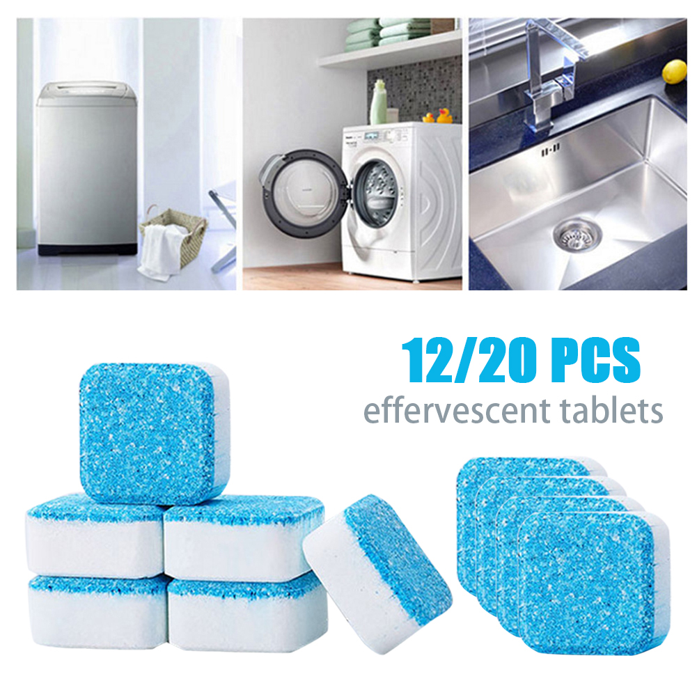 12/20Pcs Washing Machine Tank Cleaning Tablets Washer Decontamination Cleaning Detergent Effervescent Tablet